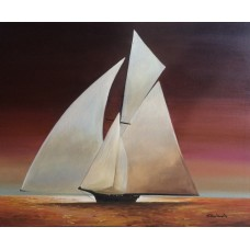 Old Wooden Sail Boat - Moon Light