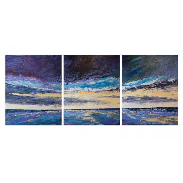 Abstract  sunset painting Three panels each 3' x 4'  acrylic on canvas.