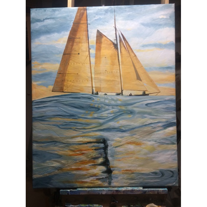 A Drift acrlic on recycled sail